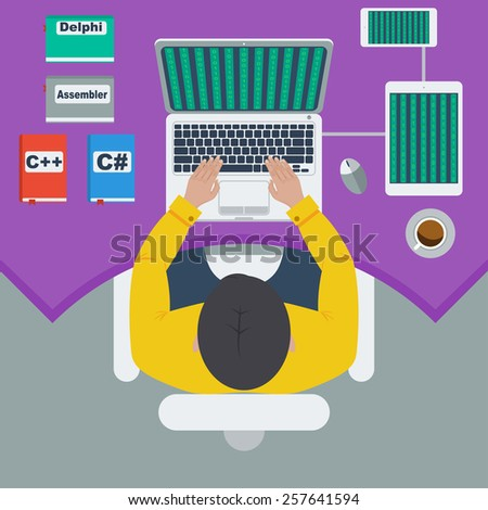 programmer and process coding Workplace and programming. Workflow and planning. Flat design style - vector illustration  - stock vector