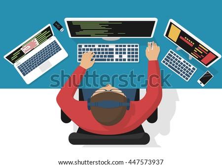 programmer at computer desk working on program design software concept vector illustration flat design - Desk Design Software