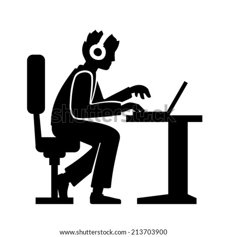 Programmer Silhouette Working on His Computer. Vector illustration - stock vector