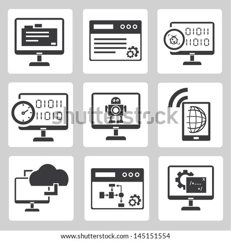 programmer, software development and internet application icons set - stock vector