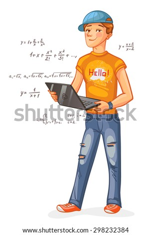 Programmer with a laptop. Funny cartoon character. Vector illustration. Isolated on white background - stock vector