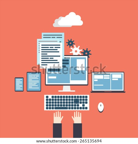 Programmer workplace. Process coding and html programming. Flat design vector illustration. - stock vector
