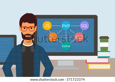 Programming code. Web software development. Programmer and monitors with computer languages. Flat vector - stock vector