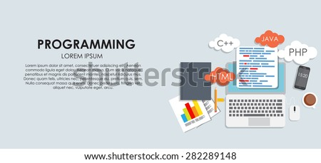 Programming Coding Concept Flat Background Vector Illustration EPS10 - stock vector