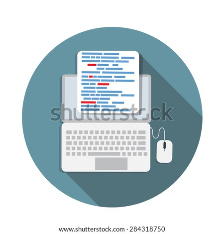 Programming Coding Concept Flat Background Vector Illustration EPS10 - stock vector