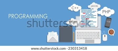 Programming Coding Flat Concept Vector Illustration  - stock vector