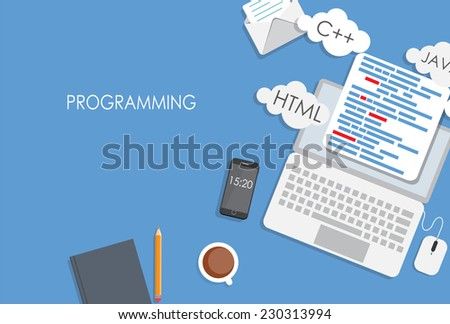 Programming Coding Flat Concept Vector Illustration  - stock vector