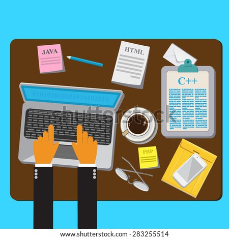 Programming, Coding, Flat, Concept, Vector web design and infographic - stock vector