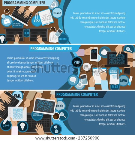 Programming Computer Flyer Template - Vector Illustration, Graphic Design, Editable For Your Design. Business Concept. Flat Icons: Html5, Css3, Php, Java, Xml, C++ - stock vector