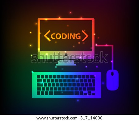 Programming design,abstract rainbow concept,clean vector - stock vector