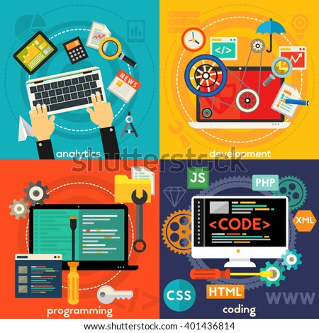 Programming, Development, Analytics and Coding Concept Banners - stock vector