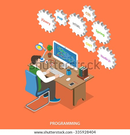 Programming flat isometric vector concept. Programmer sit at his work place, over him are gears with names of internet technologies. Programming, coding, testing, debugging, analyst, code developer. - stock vector