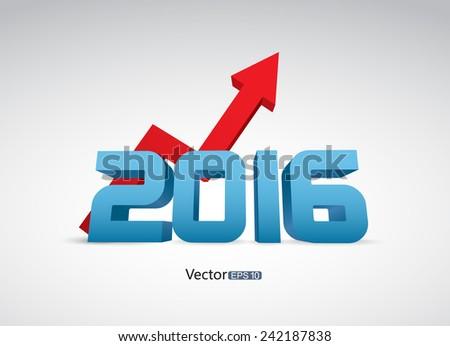 Progress arrow in 2016 - stock vector
