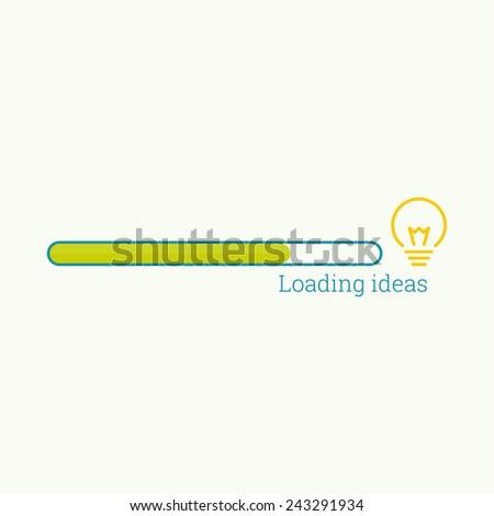 Progress bar bulb light idea. concept  of ideas inspiration innovation, invention, effective thinking. Loading ideas - stock vector