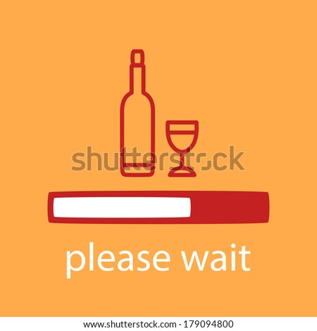 progress bar with a bottle and glass. Waiting for bottle and glass. - stock vector
