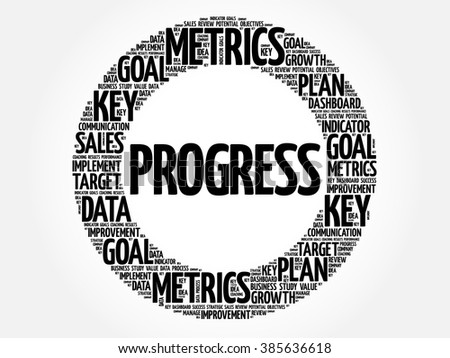 Progress circle word cloud, business concept background - stock vector