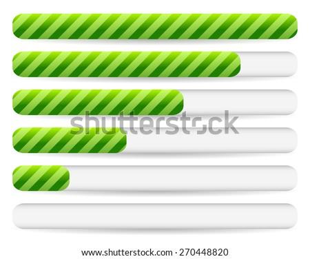 Progress, loading bars with striped texture. Vectors. - stock vector