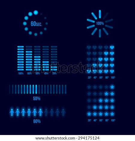 Progress loading indicators set. Load and download, upload element, vector illustration - stock vector