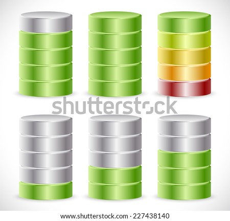 Progress or level indicators. Progression, completion, (re)charging or consumption concepts - 3d cylinders - stock vector