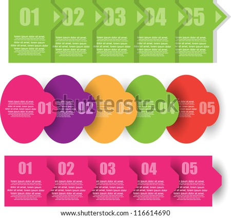 progress step with number options - stock vector