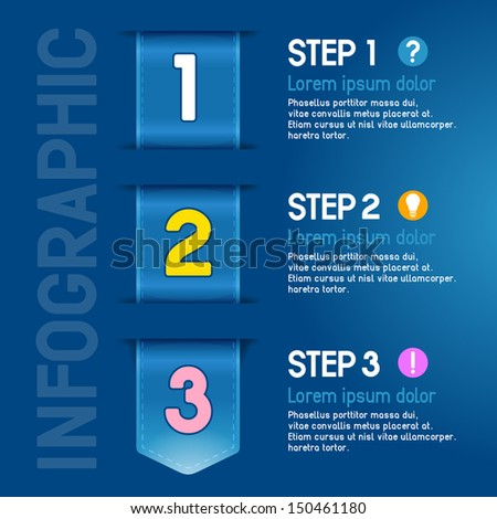 Progress steps for tutorial, product choice or user manual. Vector. - stock vector