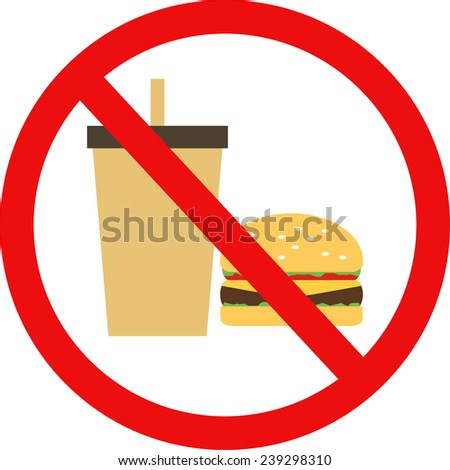 prohibited burger with a drink flat vector icons - stock vector
