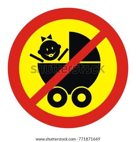 Prohibited entry with a pram vector sign sticker
