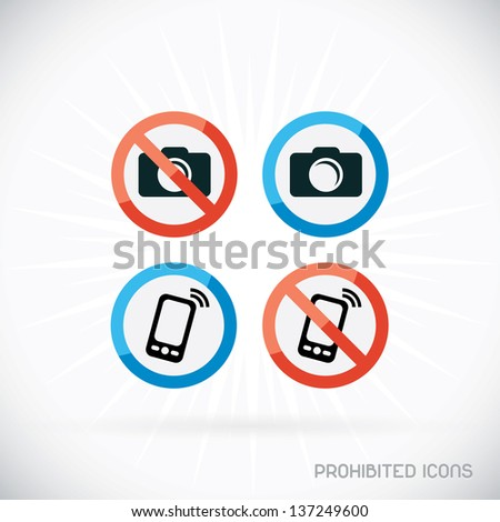 Prohibited Icons Illustration, Sign, Symbol, Button, Badge, Logo for Family, Baby, Children, Teenager, People - stock vector
