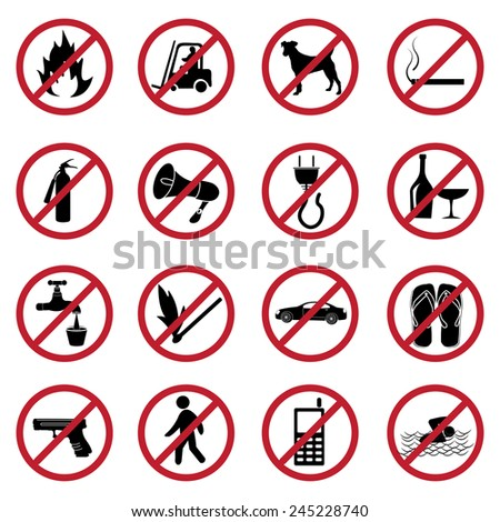 prohibited icons set - stock vector