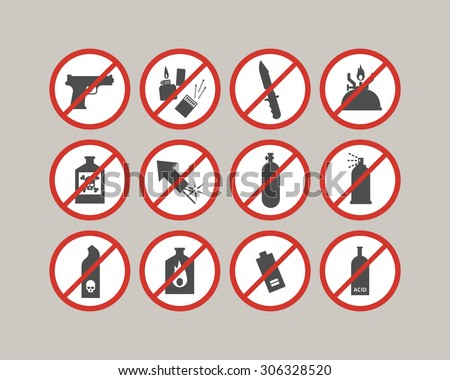 Prohibited luggage items. Airport restrictions. Dangerous stuff for airplane. Vector icons collection. - stock vector