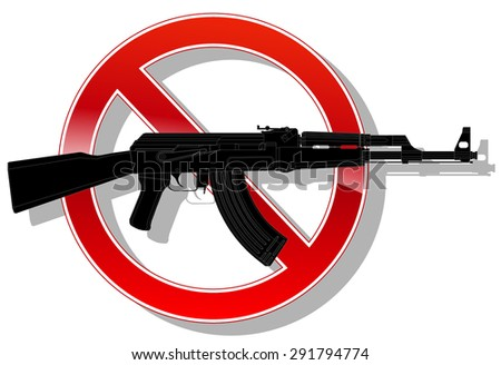prohibited sign no weapon. vector illustration 3 - stock vector