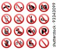Prohibited signs - stock photo