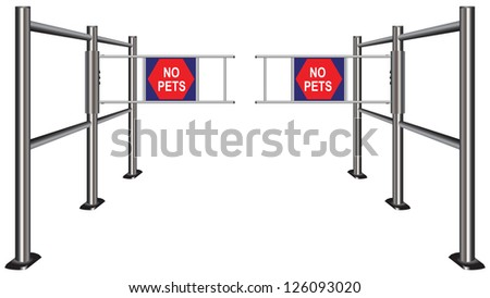 Prohibiting passage turnstile with pets. Vector illustration.