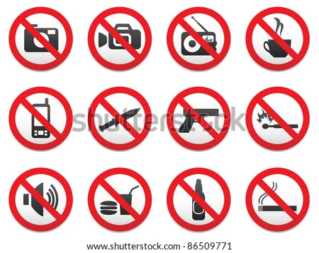 Prohibiting signs vector format set. - stock vector