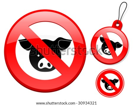 Prohibition sign collection - pig - vector - stock vector