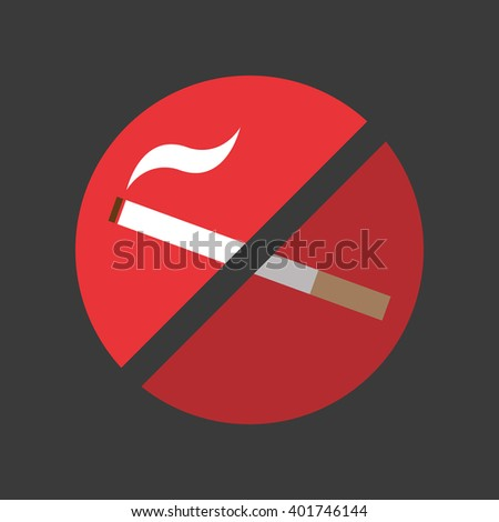 Prohibition sign of no smoke allowed. Cool flat design style. Unique. - stock vector