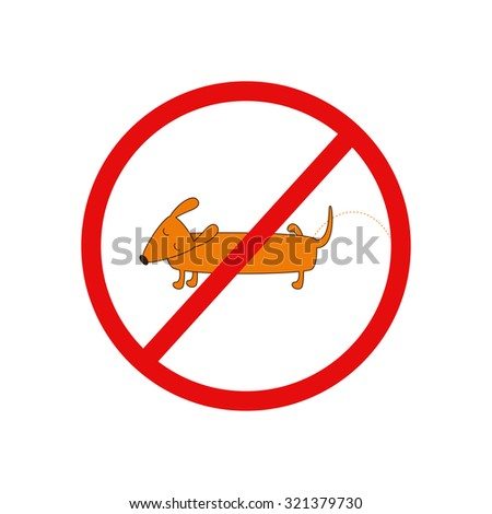 Prohibition sign with cute cartoon brown contoured foxy colored pissing dachshund with closed eyes, brown nose, one leg up and curled tail on white background. Design element. Flat style illustration - stock vector