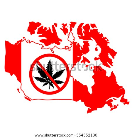 Prohibition sign with marijuana leaf on Canada map - stock vector