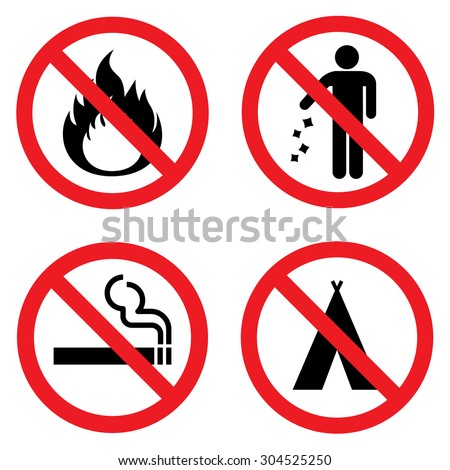 Prohibition signs for fire , littering , smoking and camping . Vector Illustration - stock vector