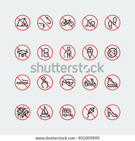 Prohibition signs linear vector icon set