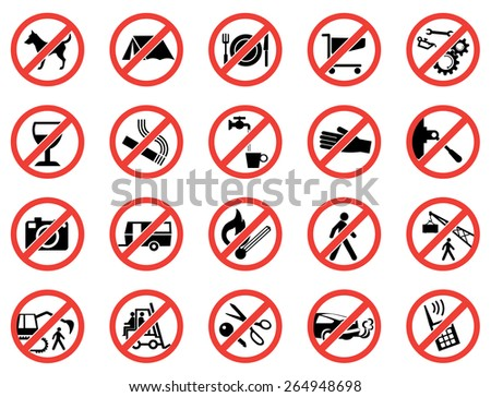 Prohibition signs, set vector illustration