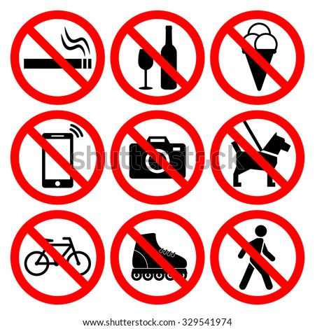 Prohibition symbols set. Nine most popular signs: no smoking, no alcohol, no icecream, no phone calls, no photos, no dogs, no biking, no roller skating, do not walk. Vector illustration. - stock vector