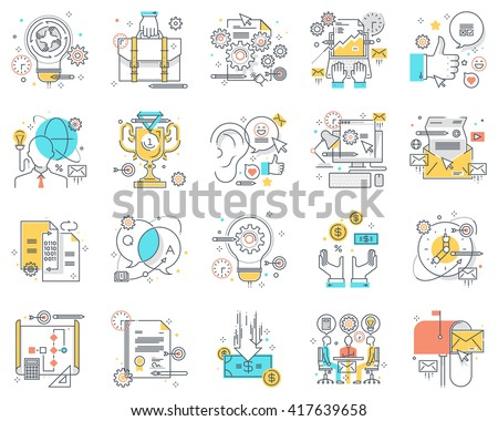 Project development concept illustrations, icons, backgrounds and graphics. The illustration is colorful, flat, vector, pixel perfect, suitable for web and print. It is linear stokes and fills. - stock vector