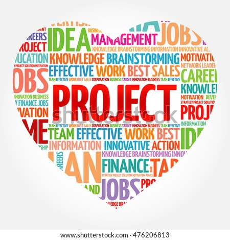 PROJECT heart word cloud collage, business concept background
