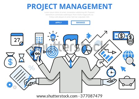 Project Management Business Multitasking Concept Flat Stock Vector