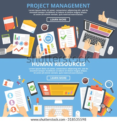 Project management, human resources flat illustration concepts set. Top view. Modern flat design concepts for web banners, web sites, printed materials, infographics. Creative vector illustration - stock vector