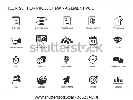 Project Management icon set. Various vector symbols for managing projects, such as task list, project plan, scope, quality, team, time, budget, quality, meetings. - stock vector