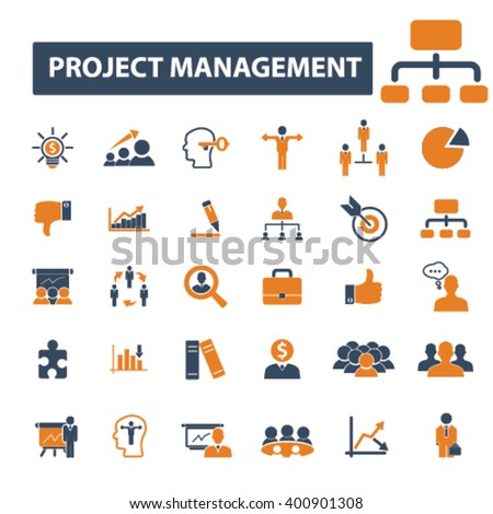 project management icons  - stock vector