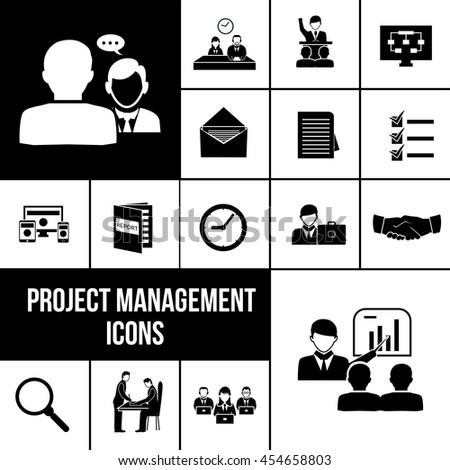 Project management icons black set with business analysis and teamwork symbols isolated vector illustration