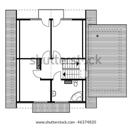 project of house in black-and-white color. garret